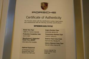 1988 Porsche 911 Cabrio G-Modell Jubi - COA